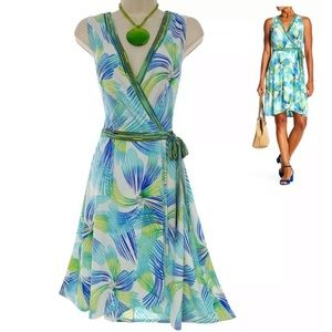 22W 3X▪️PRINT TULIP HEM FAUX-WRAP DRESS Plus Size